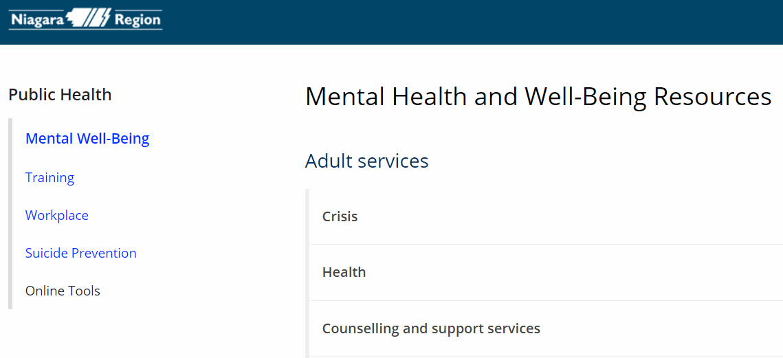 Niagara Region Mental Health and Well-Being Resources.Apr28.2021